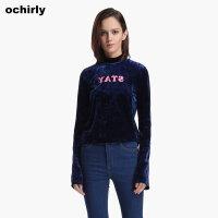 [9月12日3件7折到手价:92元]欧时力新女装丝绒印花小高领套头长袖T恤1JJ4021520