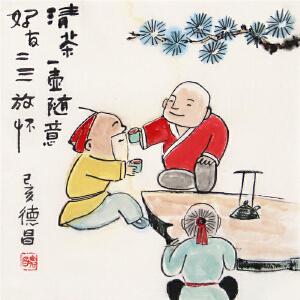 《清茶一壶随意 好友二三放杯》范德昌原创小品画R4223