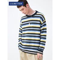2.5折价:128元;Lilbetter毛衣男韩版撞色条纹套头线衣百搭潮牌个性网红针织衫