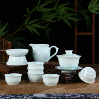 透光陶瓷功夫茶具盖碗套装十头全套茶具品茗杯公道杯礼品装