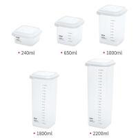 冰箱收纳盒厨房面条食物储物盒塑料刻度密封盒透明保鲜分类盒子
