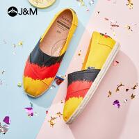 jm快乐玛丽布鞋2021夏季新款平底套脚一脚蹬休闲平底帆布女鞋