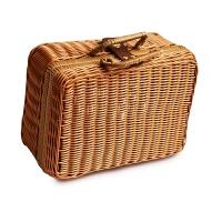 带盖储物箱 化妆品收纳箱整理盒 藤编小号手提复古出游旅行箱子