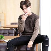 男士圆领毛衣冬季套头圆领韩版拼接打底针织衫青少年春秋季上衣服
