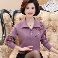 中年妈妈穿秋冬加厚针织开衫翻领中老年妇女短款毛衣外套40-50岁
