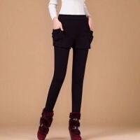 秋冬季加绒加厚保暖打底裤女外穿铅笔裤小脚紧身裤显瘦假两件长裤