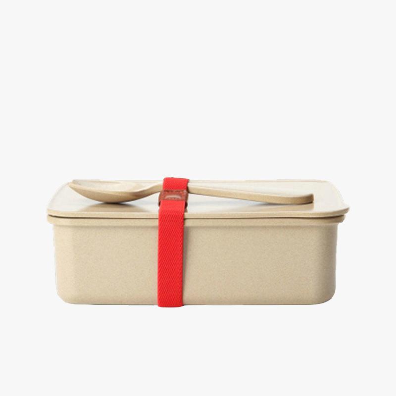 当当优品 壳氏唯稻壳环保创意保鲜盒 可微波炉加热饭盒 长方形便当盒带勺 (大)当当自营 稻壳材质 健康环保 设计简洁 光滑易洁 儿童餐具 赠送勺子