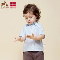 欧孕2019新款儿童纯色棉短袖衬衣童装春装婴儿宝宝卡通休闲0-3岁上衣