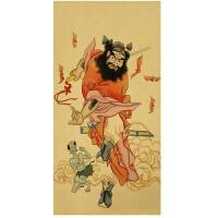 钟馗画像风水画赐福驱鬼纳福挂画牛皮纸复古海报 66x33cm;牛皮纸无框画;独立