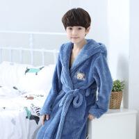 儿童睡袍冬季男孩子浴袍法兰绒小孩宝宝男童珊瑚绒睡衣中大童
