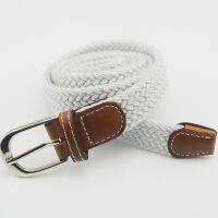 无孔编织细腰带男女士 编制皮带针扣帆布弹力松紧弹力裤带 白色( 适合2尺4以内) 95cm