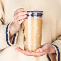 创意大容量玻璃杯女家用牛奶耐热可爱水杯刻度杯带吸管杯子