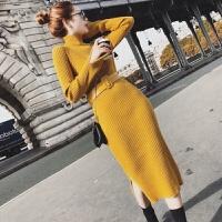 秋冬季韩版高领纯色毛衣女中长款修身显瘦保暖包臀打底连衣裙