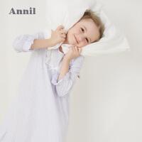 【活动价:141】安奈儿童装女童家居服优雅文艺风长袖连衣裙2020春装新款睡裙