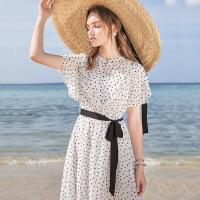夏季新款修身连衣裙春装2019款女宽松雪纺波点复古长裙气质 白黑
