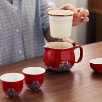 创意陶瓷描金招财猫一壶两杯花茶快客杯旅行便携茶具三件套