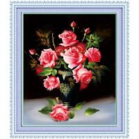 精准印花绣十字绣花卉客厅十字绣大幅新款餐厅油画花瓶 娇艳欲滴