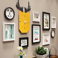 北欧照片墙装饰简约实木相框墙创意相框挂墙组合连体挂客厅相片墙 白黑 B款黑白两色 9393