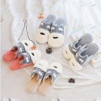 韩版卡通情侣棉拖鞋男女可爱冬季居家用室内软底毛绒保暖厚底防滑