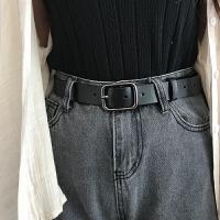 黑扣女士皮带真皮简约百搭韩版腰带黑色休闲韩国装饰牛仔裤带女潮
