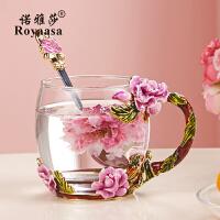 情人节礼物送女友七夕情人节礼物珐琅彩水杯带把洛施花舍玻璃杯玫瑰花茶水晶玻璃杯 粉玫瑰矮 单杯