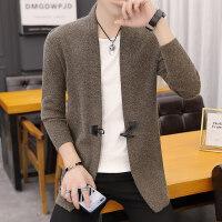 毛衣男装韩版修身秋季青年翻领男士针织开衫薄款毛线衣外套外衣潮