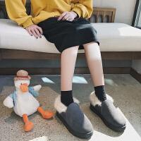 豆豆鞋女2018秋冬季新款潮韩版百搭懒人一脚蹬学生加绒棉鞋面包鞋