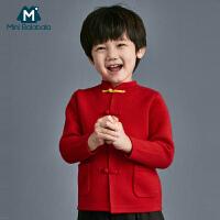 【每满299元减100元】迷你巴拉巴拉儿童毛衣针织衫男童2019冬新品中国红男宝宝新年毛衫