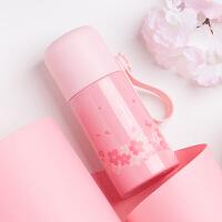 bianli鲤集 保温杯女士学生不锈钢子弹头水杯便携樱花系列350ML-D28241