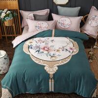 商场同款新中式加厚全棉磨毛四件套棉床单被套被罩4套件床上用品