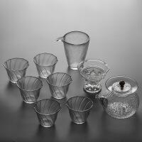 日式花茶功夫茶具套装耐热透明玻璃简约家用现代茶壶茶杯红茶整套