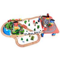 木质托马斯小火车轨道套装磁性电动车头3-5-7岁男孩积木儿童玩具定制 新88件电动轨道 官方标配