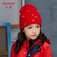 卡蒙6-9岁男童毛线帽子秋冬季双层保暖针织帽女孩套头帽刺绣时尚4650
