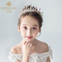 儿童皇冠头饰公主水晶发箍金色女孩生日发饰