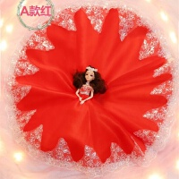 芭比娃娃单个装 会说话的女孩公主单个换套装婚纱大仿真儿童新娘玩具 A款 彩儿 红色棕发 无音乐款