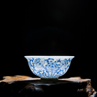 景德镇陶瓷功夫茶具小茶杯品茗杯主人杯手工手绘个人杯茶道单杯