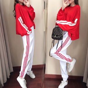 RANJU 然聚2018女装秋季新品新款套装休闲运动装原宿风网红学生宽松卫衣长裤两件套