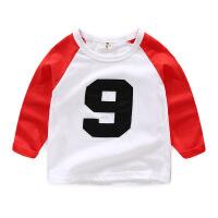男童长袖T恤拼接袖2019春装新款儿童装韩版数字9号长袖体恤韩版潮