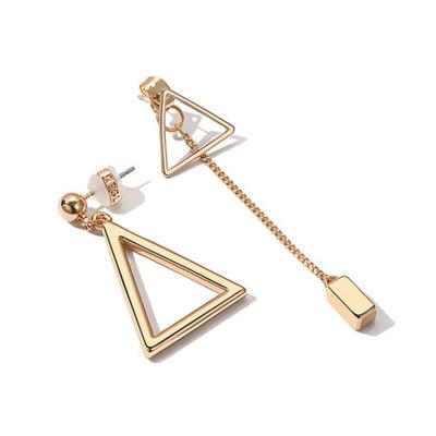女士个性简约百搭不对称三角形耳钉耳饰品气质几何耳环长款耳坠