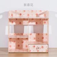 简约创意木质桌面化妆品收纳盒多层置物架梳妆台办公桌面整理柜子