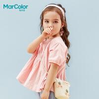 【2件2折】巴拉巴拉旗下MarColor马卡乐夏新品女童甜纯棉短袖衬衫