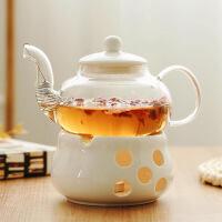 陶瓷花茶壶花茶具下午茶玻璃花草茶杯水果花果茶壶耐热蜡烛加热