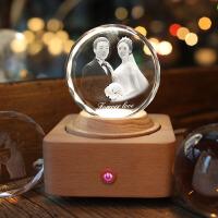 水晶球音乐盒可雕刻定制照片 jeancard水晶球蓝牙音响旋转音乐盒定制送男生女生520情人节礼物