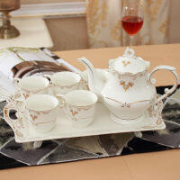 水杯茶具套装家用欧式客厅陶瓷茶壶水具杯具茶杯子整套带托盘