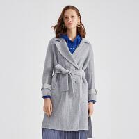 伊芙丽新款宽松显瘦羊毛大衣女中长款气质毛呢外套女118A174521