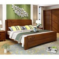 家具中式实木1.8米双人床小户型简约1.5米高箱储物床卧室家具 1.8米框架【颜色备注】