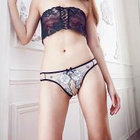 性感全透明露毛开档情趣内裤丁字裤女诱惑情趣内衣蕾丝透视 均码 一尺八到两尺一