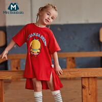【2件3.8折】迷你巴拉巴拉女童长款短袖T恤2019夏新款童装宽松大圣裙装体恤衫