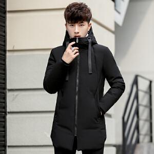 羽绒服男中长款冬季新韩版潮流帅气2018轻薄款加厚男装冬装外套