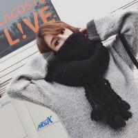 韩国冬天女士手工流苏粗毛线大围巾韩版纯色针织围脖保暖加厚护脖